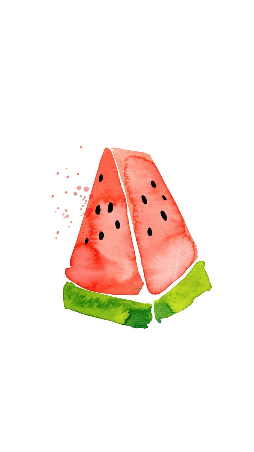 可爱 手绘 水彩 西瓜
