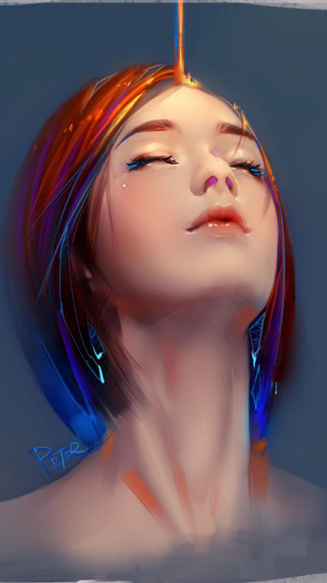 欧美美女手绘油画 苹果手机高清壁纸 1080x1920_爱思