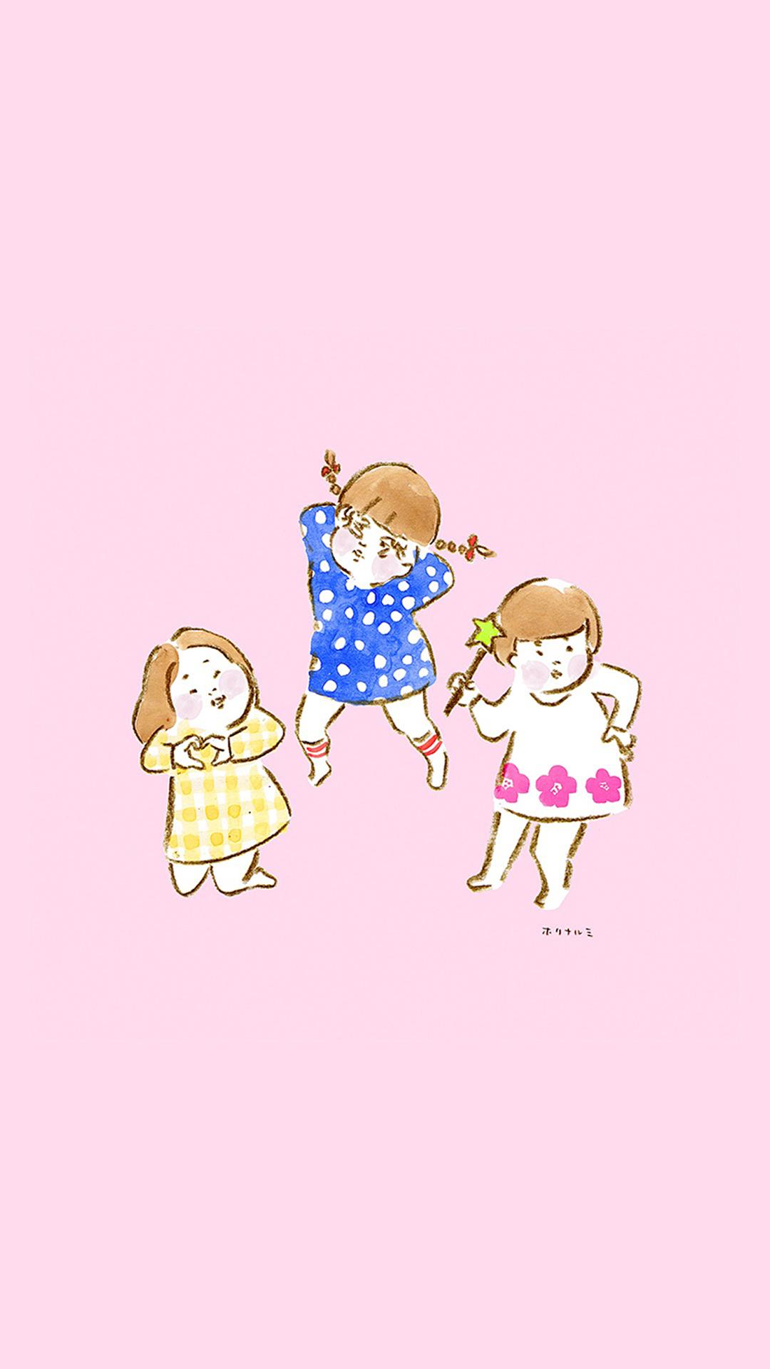 可爱童年小女孩 手绘 苹果手机高清壁纸 1080x1920