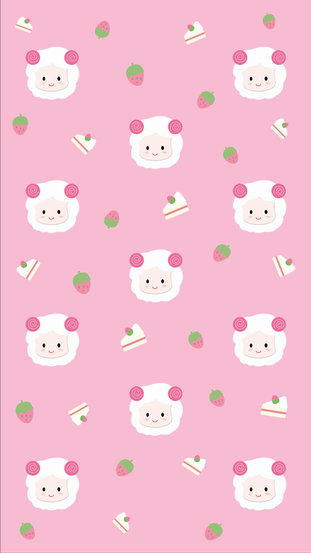 可爱卡通平铺 绵羊 苹果手机高清壁纸 1080x1920_爱思
