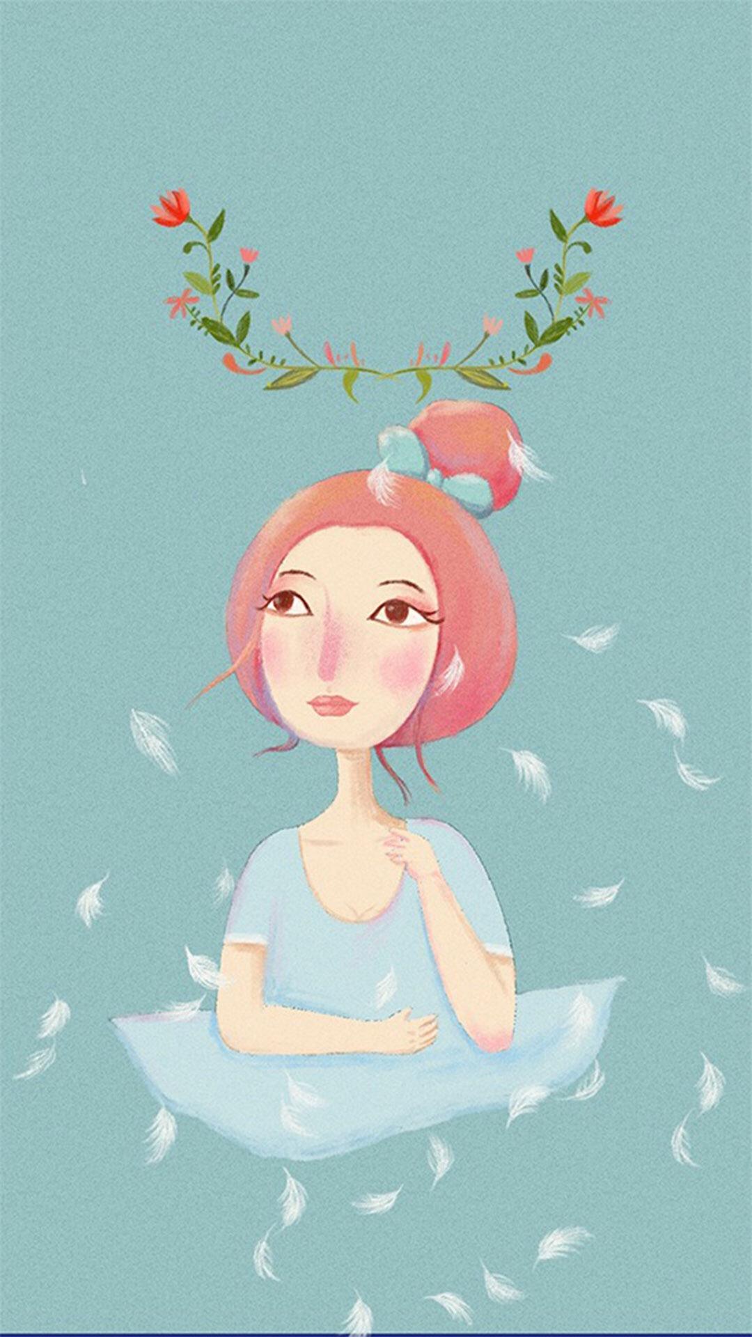 手绘女孩插画 苹果手机高清壁纸 1080x1920_爱思助手