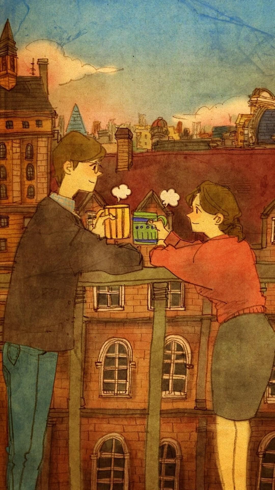 手绘 风格 线条 爱情