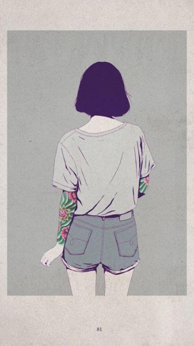手绘少女百态 背影 纹身 短发