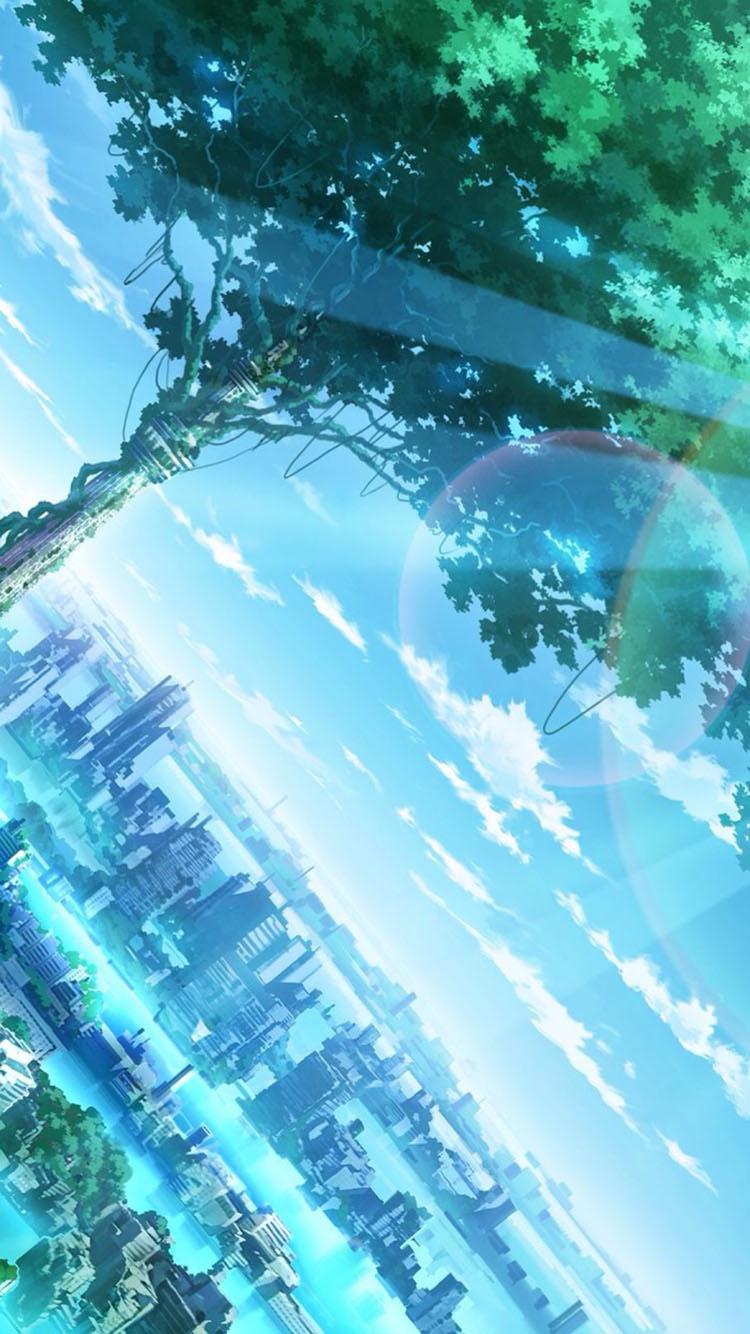二次元 藍色調城市 蘋果手機高清壁紙 750x1334_愛思