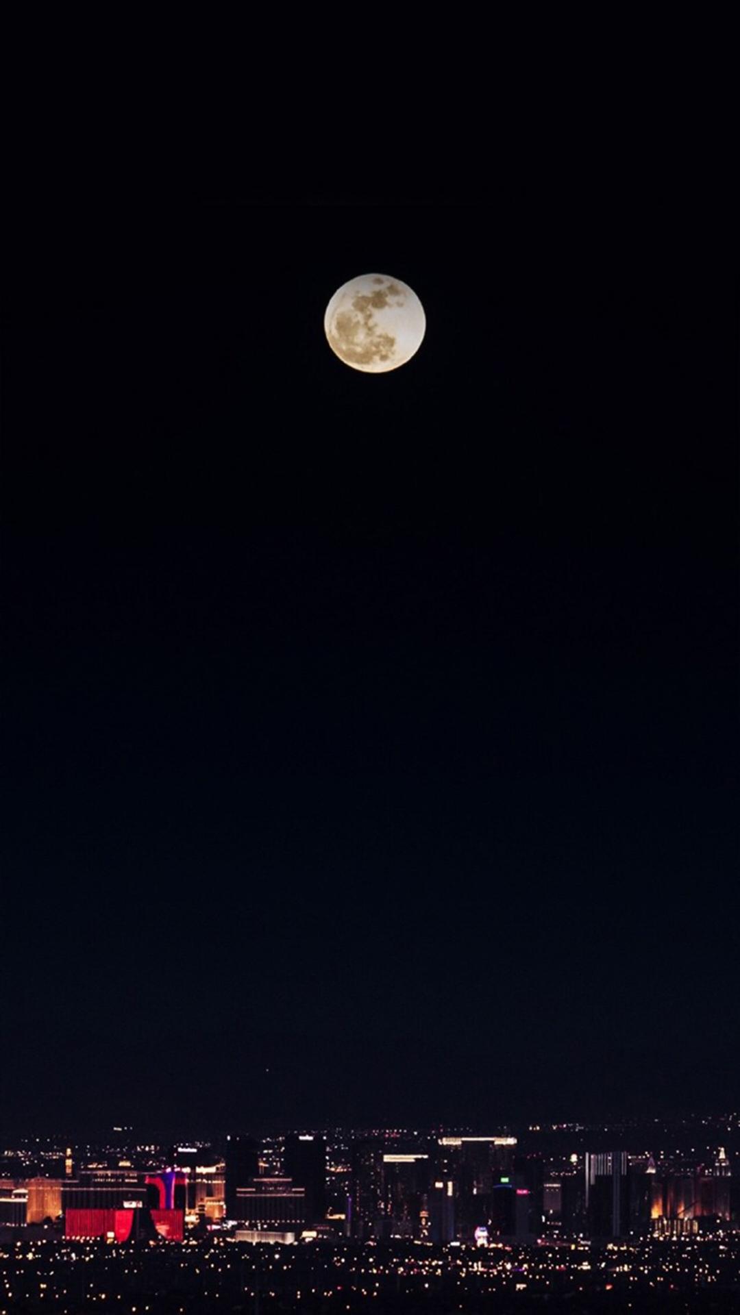 月圆之夜 黑色 城市 灯光