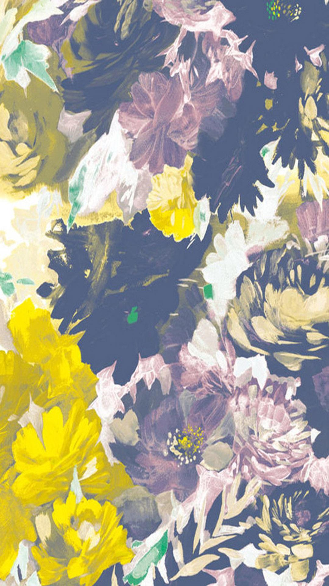 绘画牡丹花 水墨 色彩 苹果手机高清壁纸 1080x1920 爱思助手
