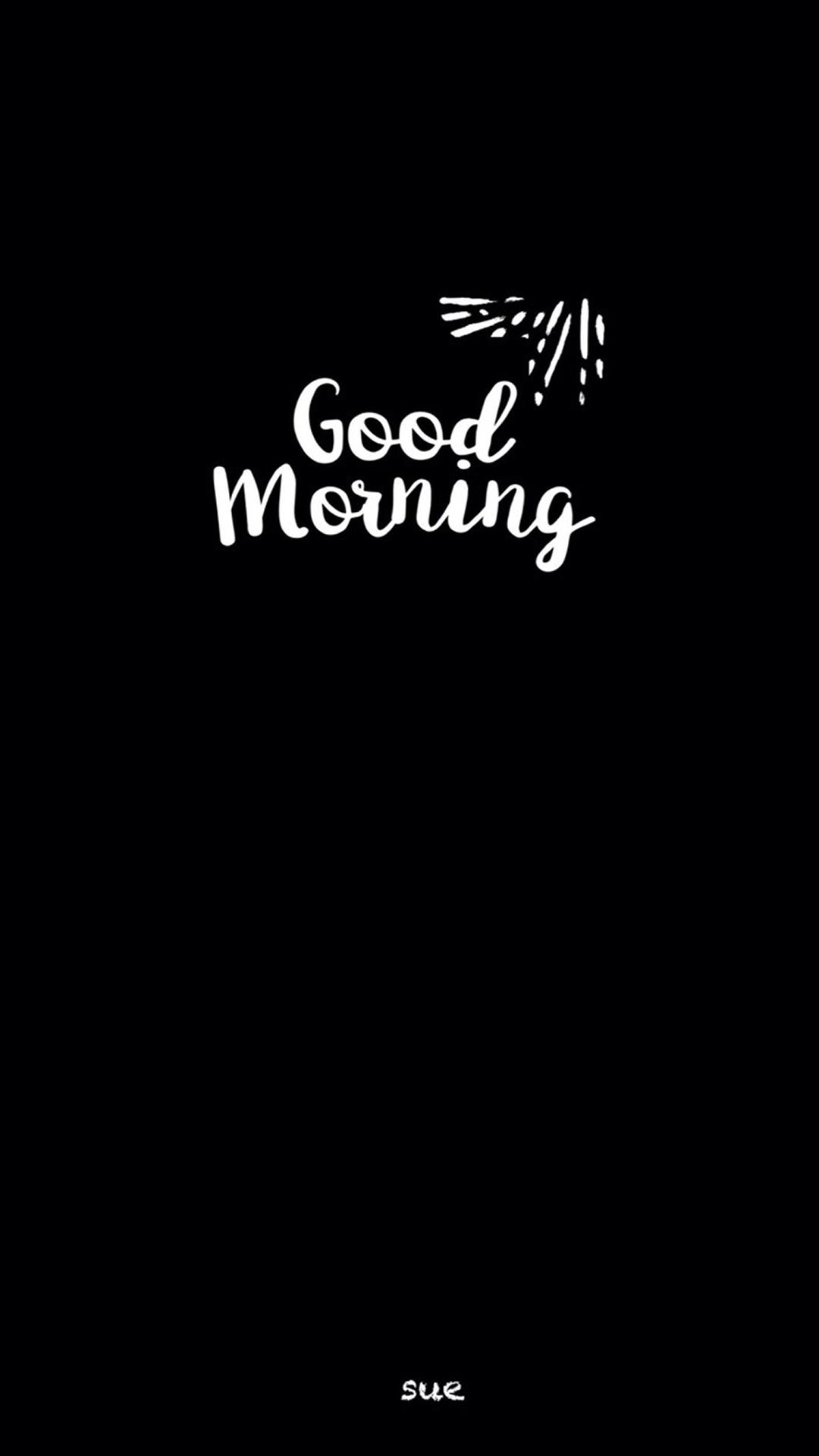 good morning 早上好 黑白 字体设计 英文图片
