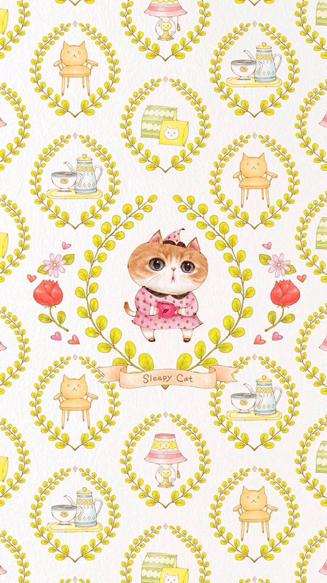 卡通 猫 平铺 可爱 苹果手机高清壁纸 1080x1920_爱思