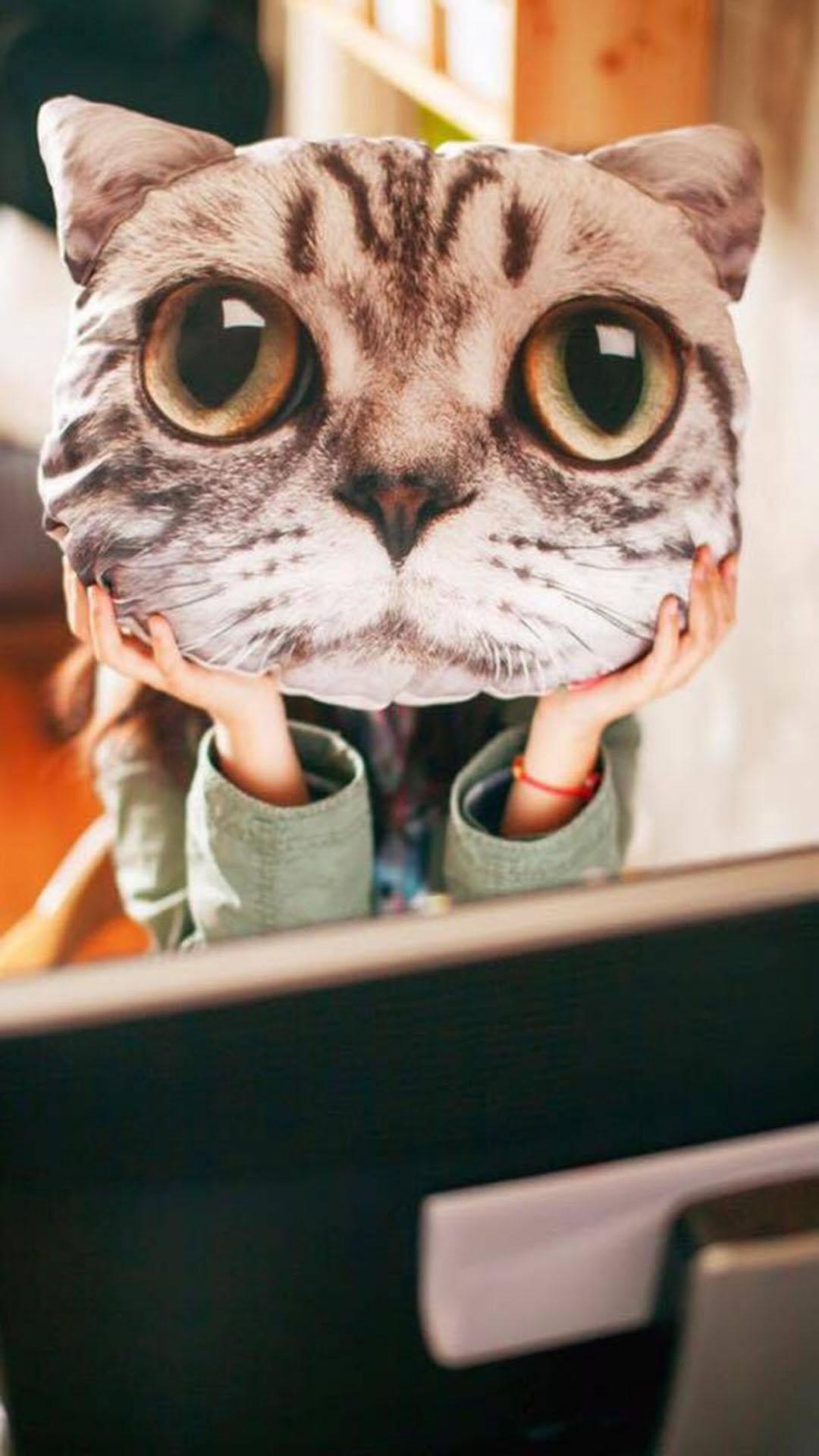 3d猫头抱枕 女孩 可爱