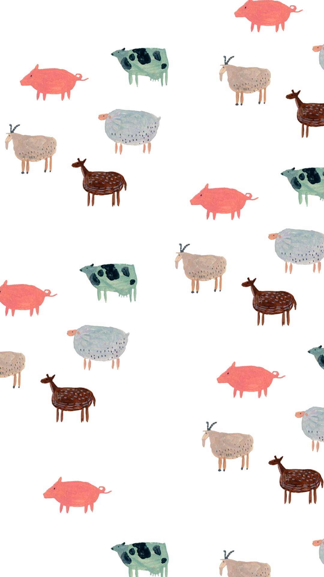 动物 手绘 插画 平铺