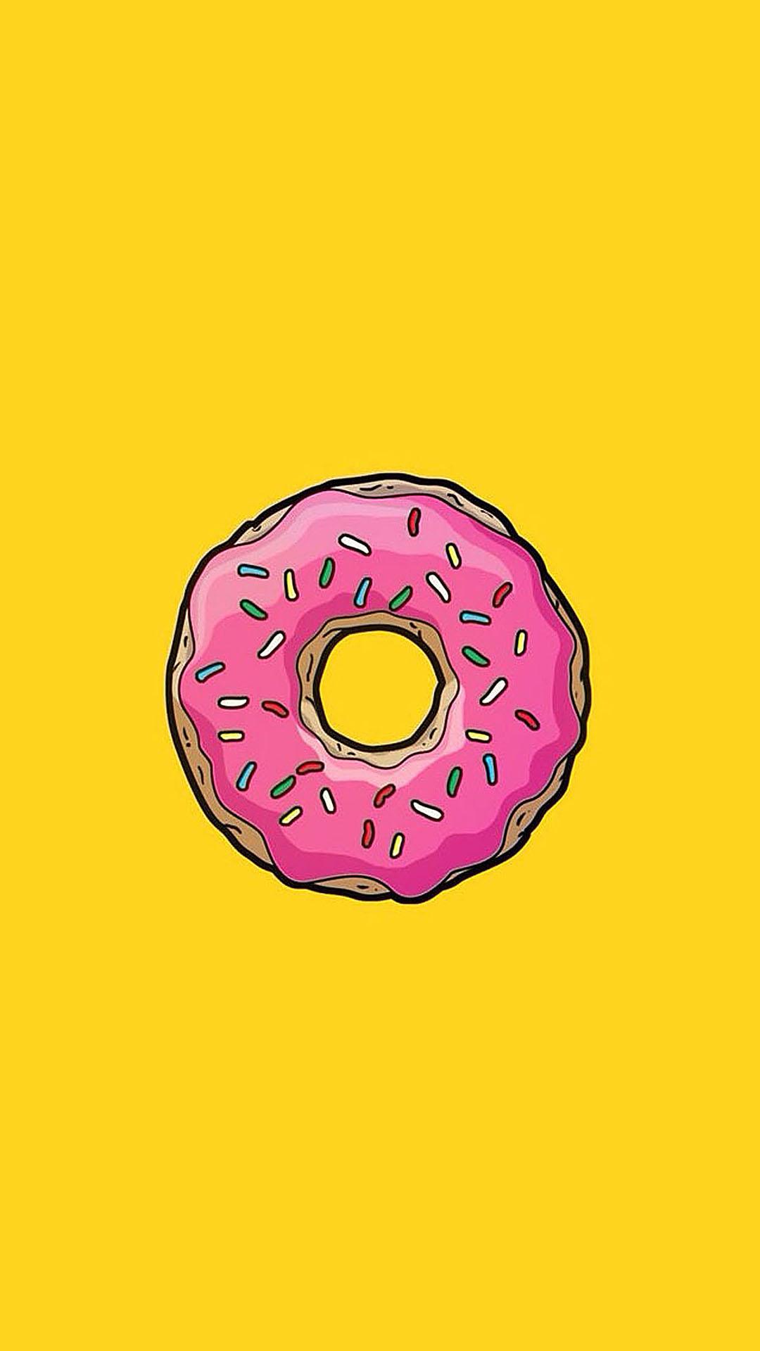 甜甜圈 黄色 粉红 苹果手机高清壁纸 1080x1920_爱思