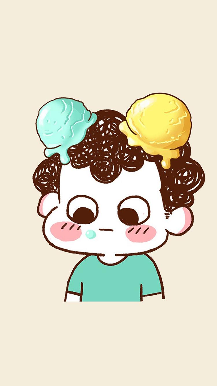 头顶冰淇淋男孩 情侣头像