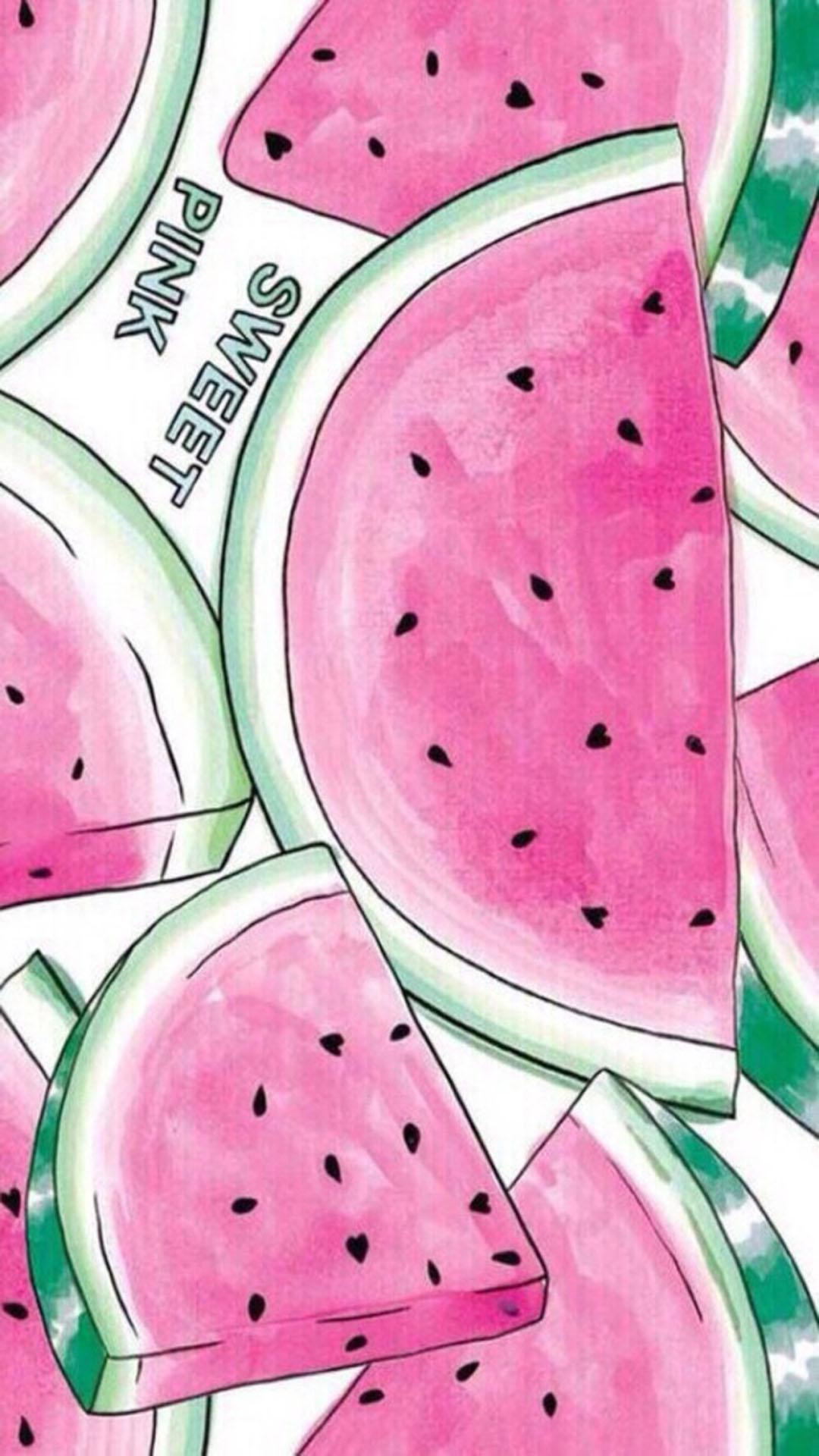 手绘西瓜背景图