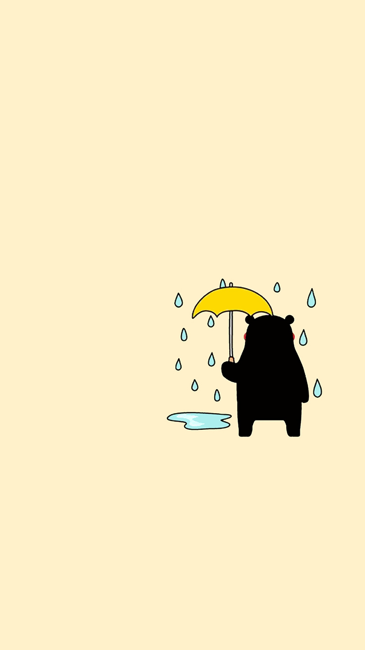 熊本熊 雨 背影 苹果手机高清壁纸 750x1334_爱思助手