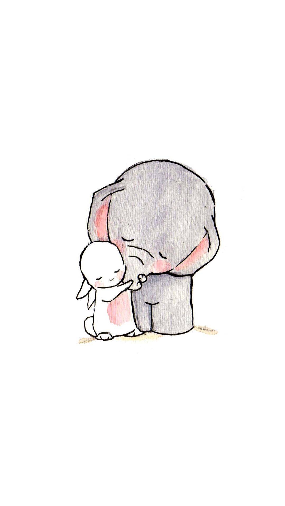 卡通 手绘 大象 兔子