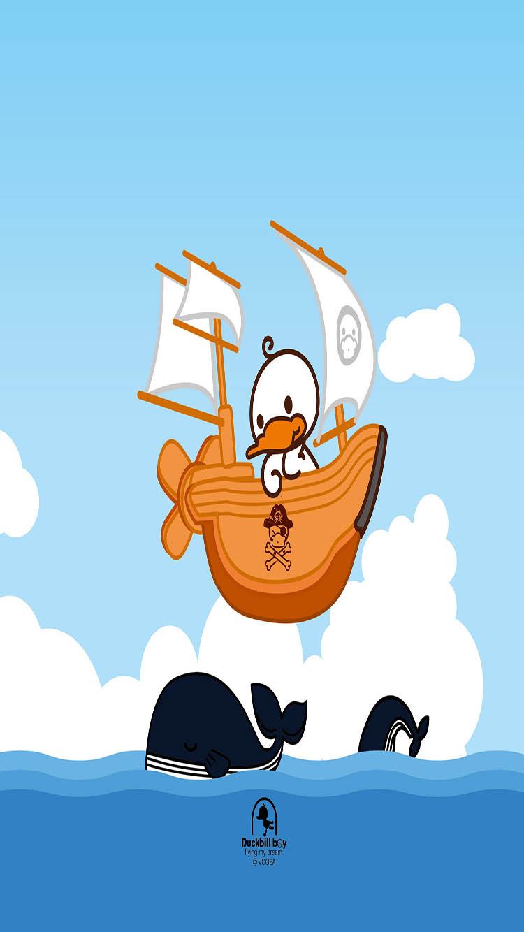 卡通 鸭子 鲸鱼 大海蓝天图片