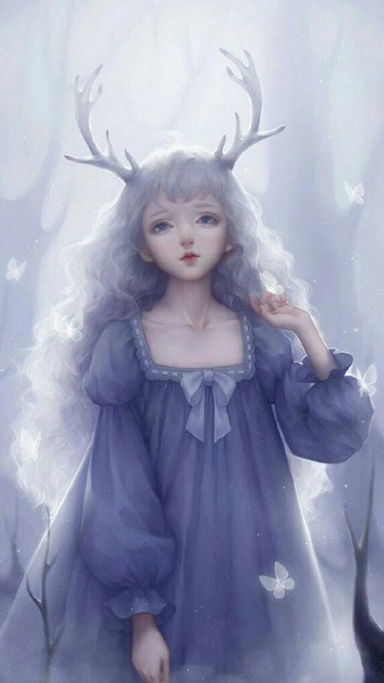 森系唯美娃娃 苹果手机高清壁纸 750x1334_爱思助手