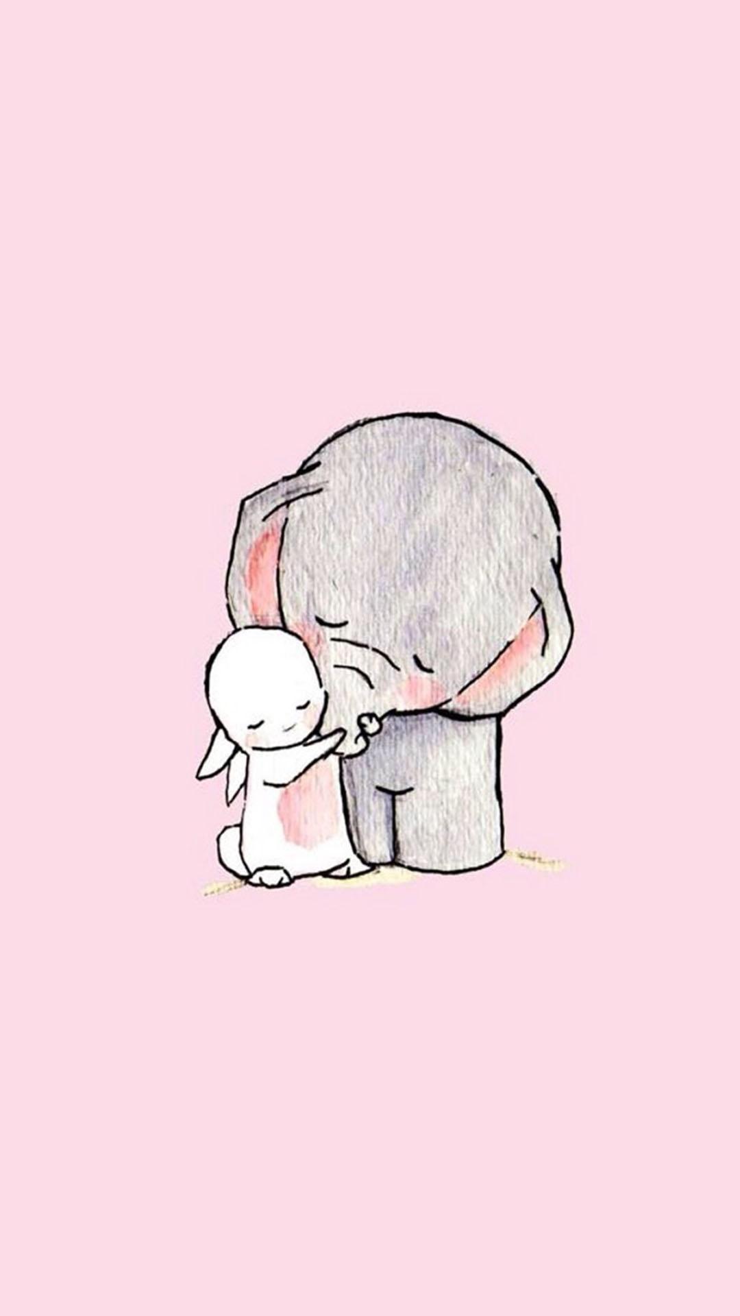 手绘大象 小兔子