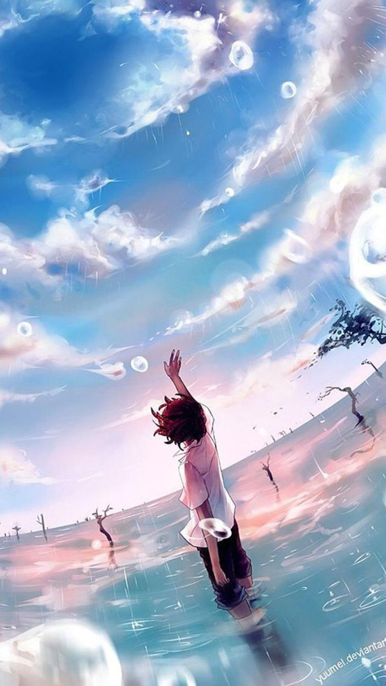 动漫 少年背影 天空