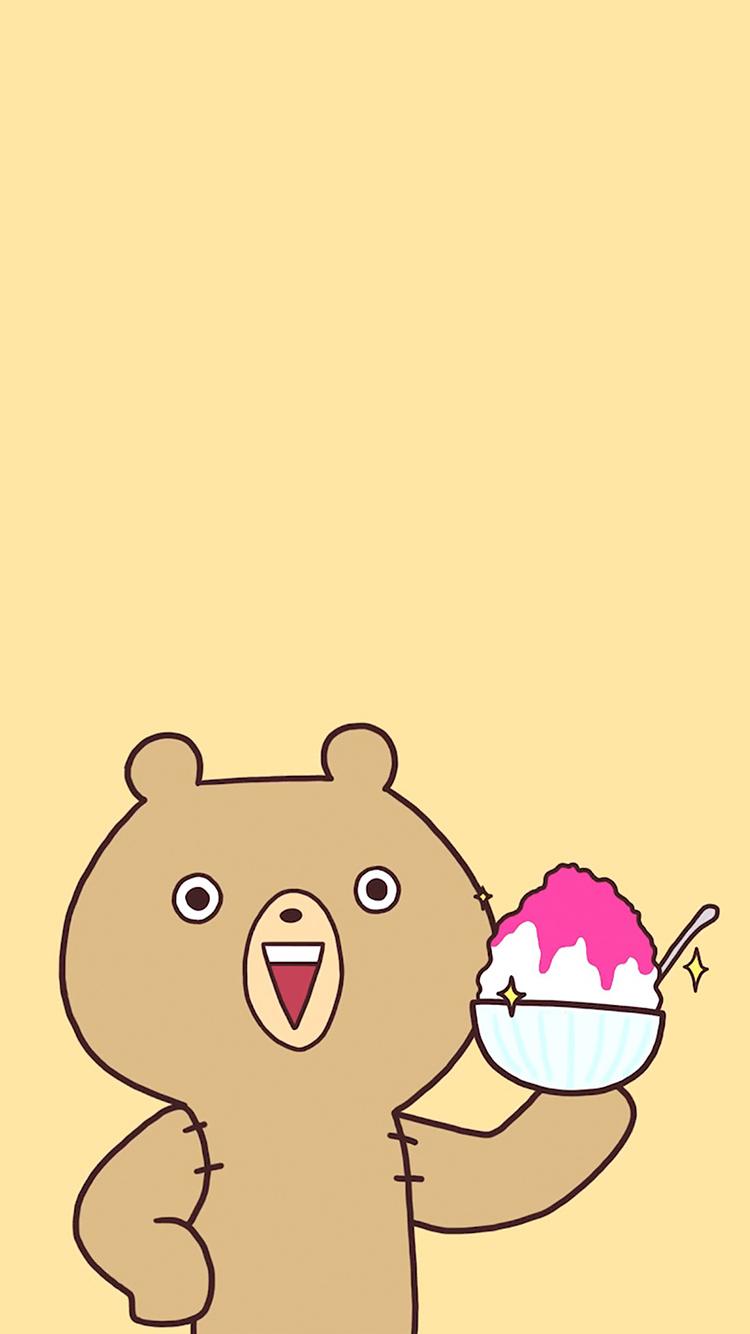 卡通 熊 冰沙 黃色 蘋果手機高清壁紙 750x1334_愛思