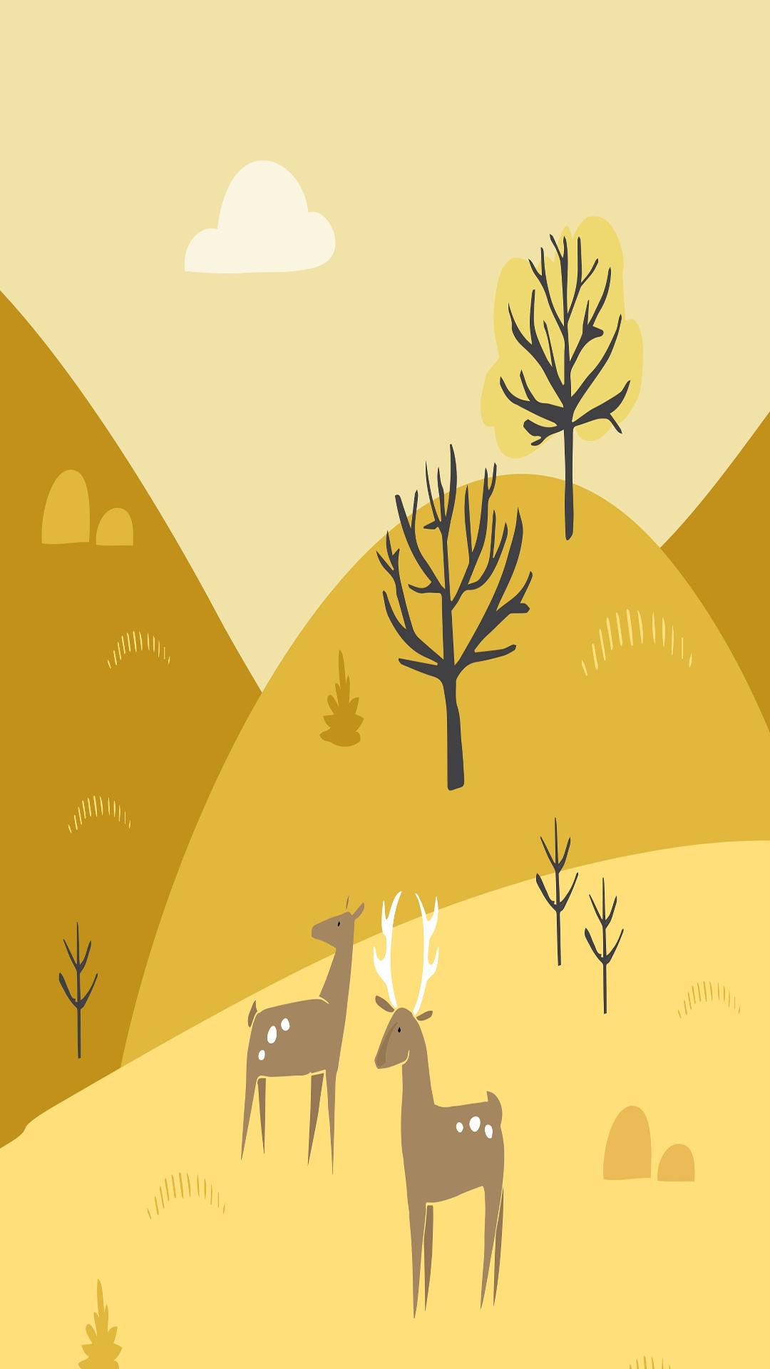 手绘 麋鹿 黄