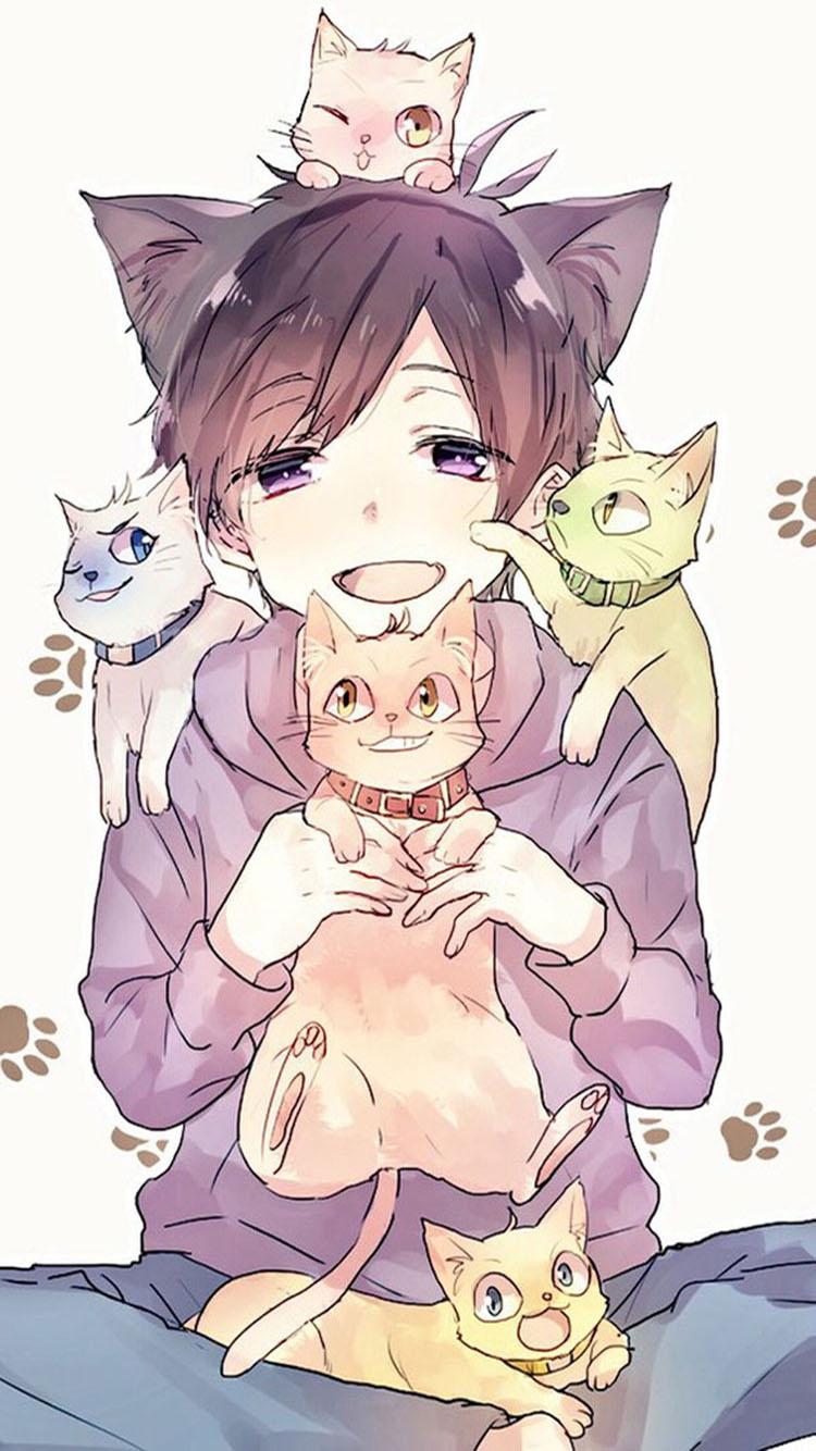 手绘 爱猫少年