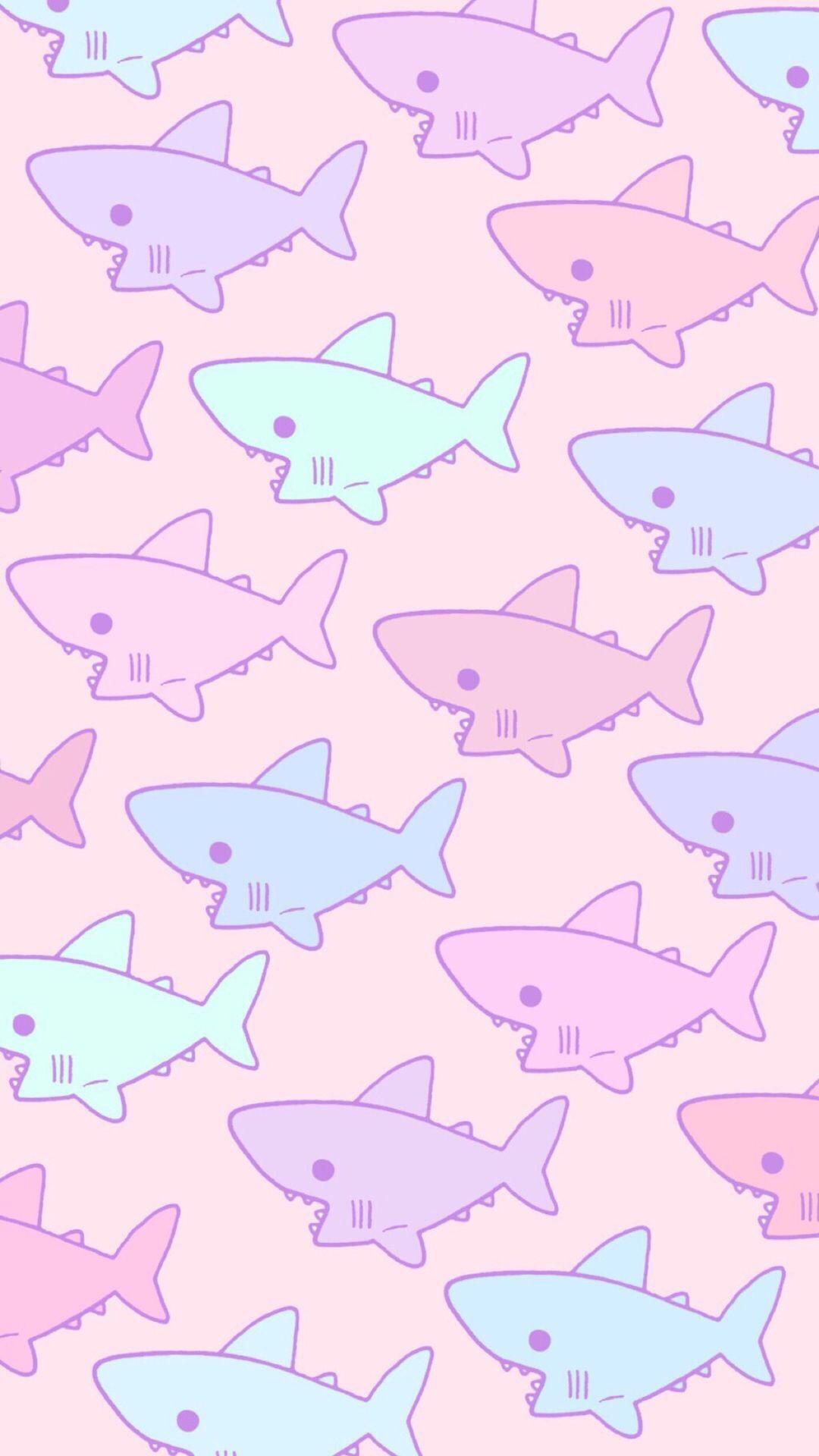 可爱卡通平铺 鲨鱼