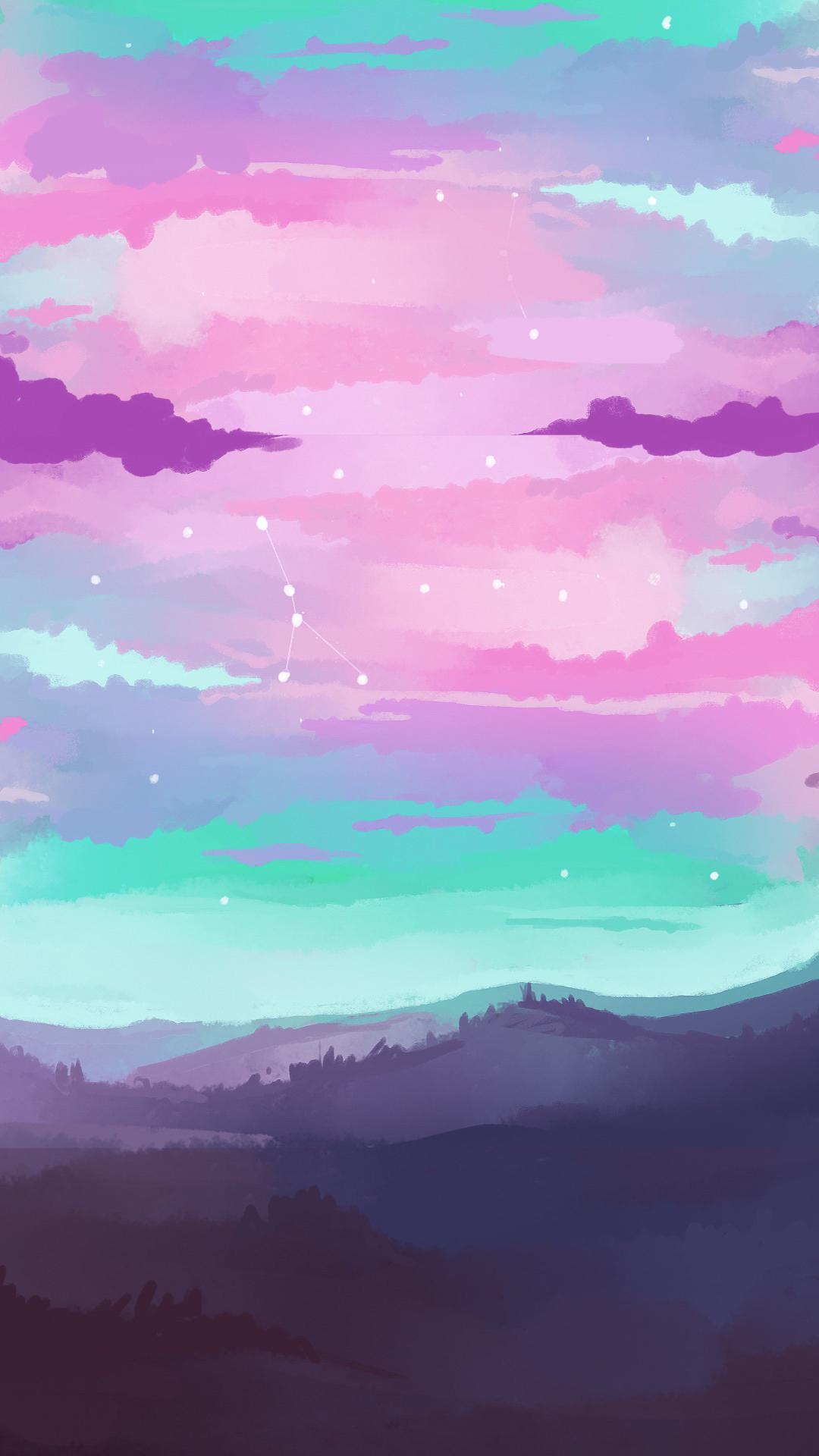 手绘 色彩 云彩 山