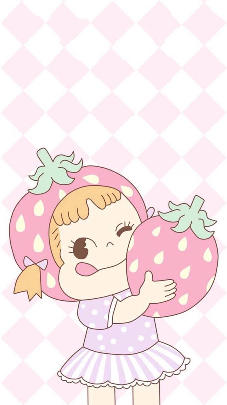 女孩 可爱 卡通 动漫 彩色 苹果手机高清壁纸 750x