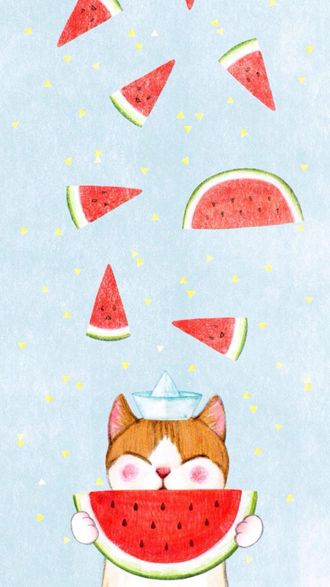 手绘 吃西瓜的小猫咪