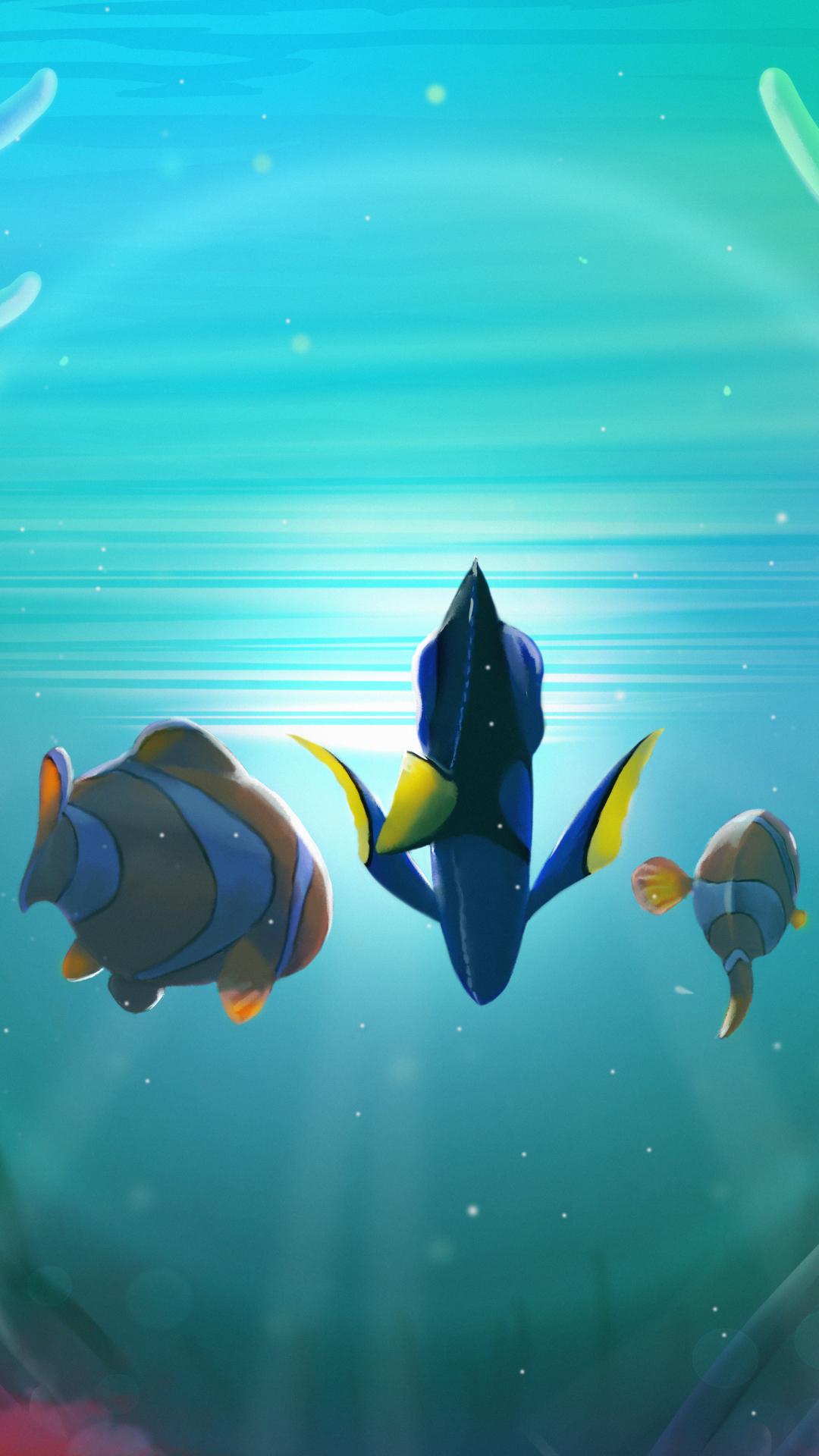 海底总动员 三只鱼 海水 苹果手机高清壁纸 1080x1920