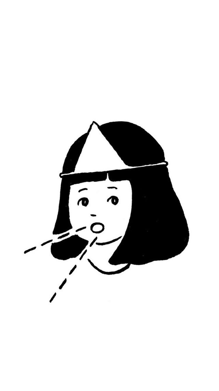 手绘 短发女孩