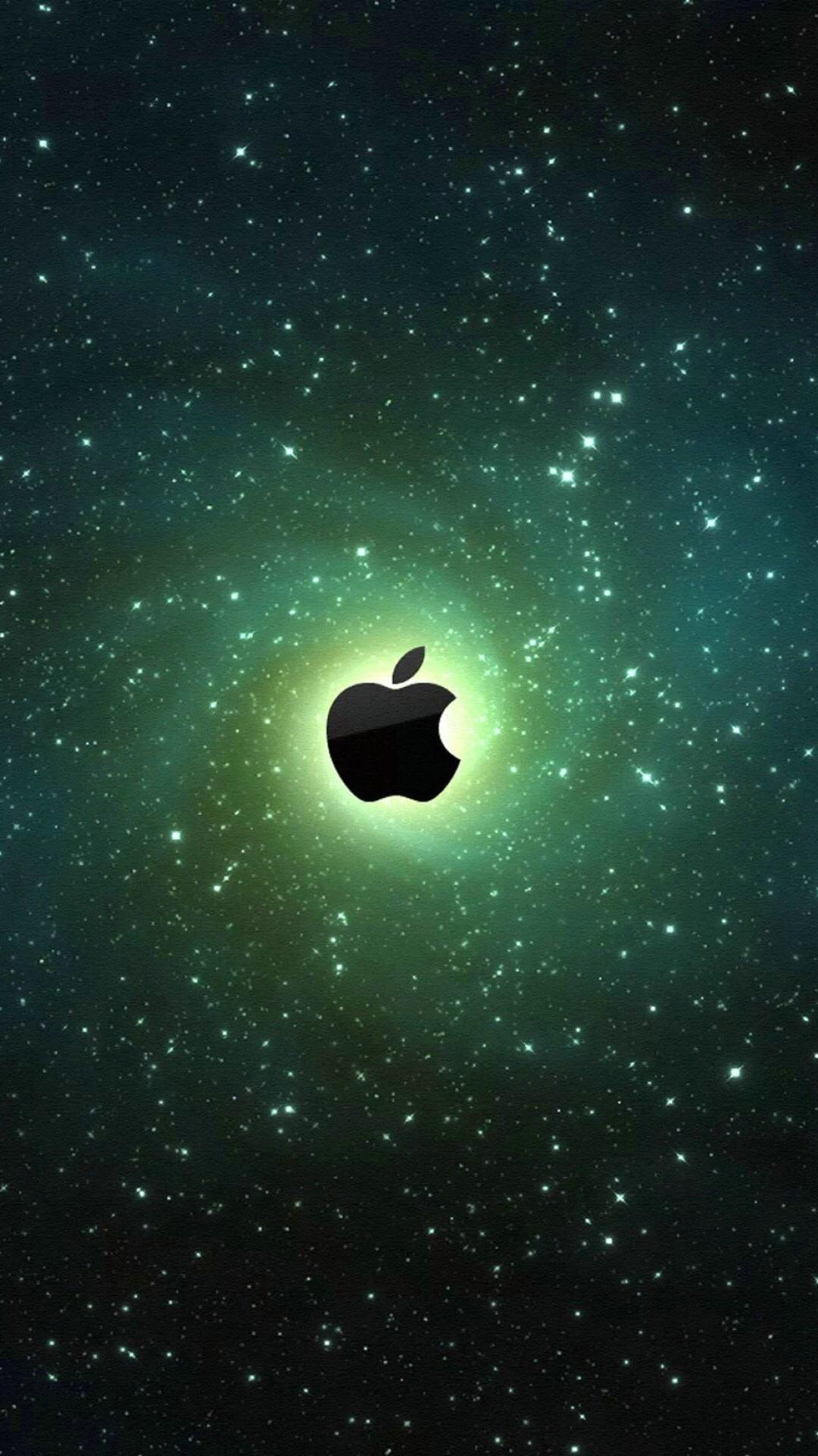 苹果logo 宇宙 绿色 苹果手机高清壁纸 1080x1920_ -