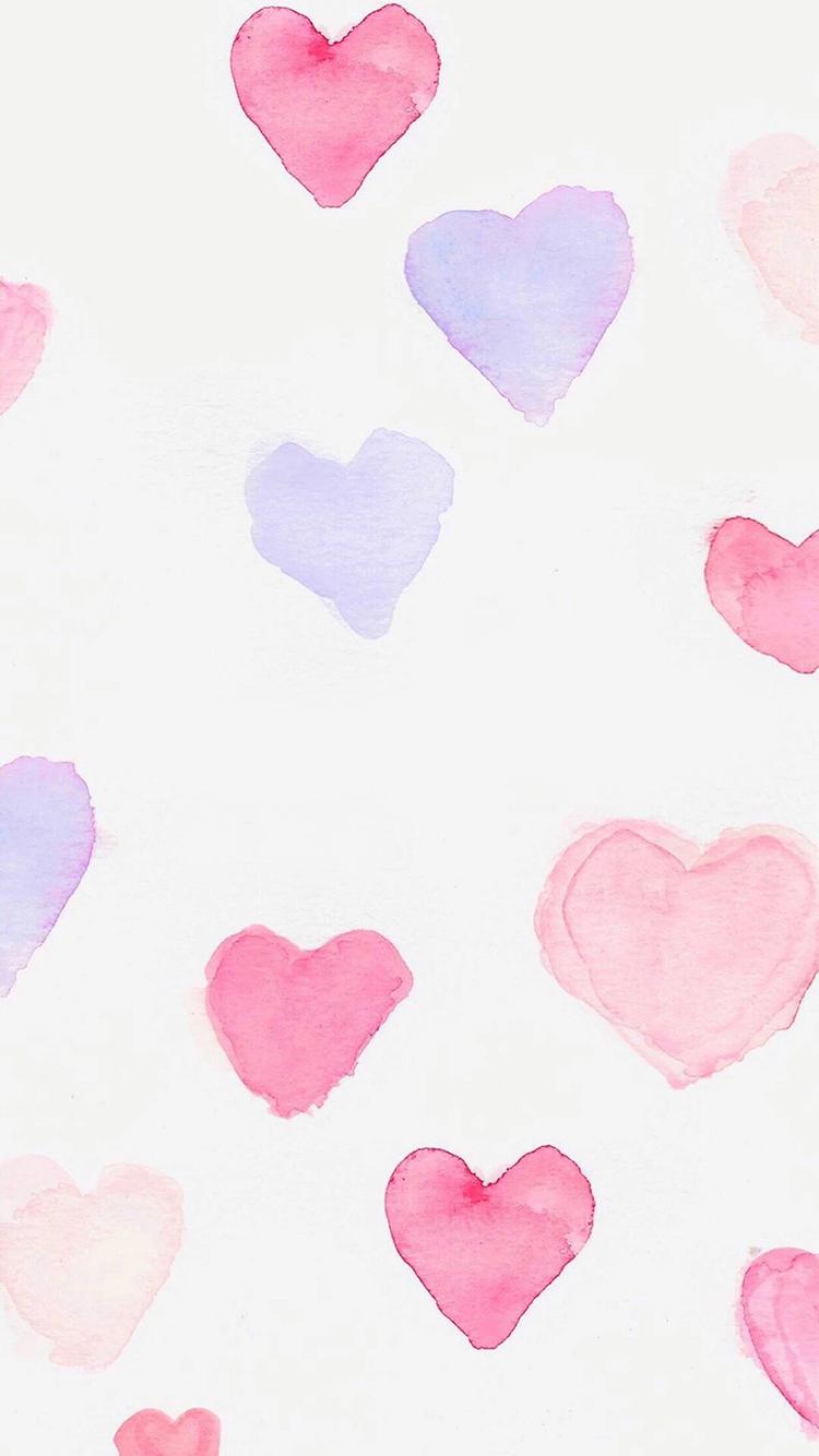 水彩 粉色 红色 紫色 爱心 爱情 浪漫 少女 平铺