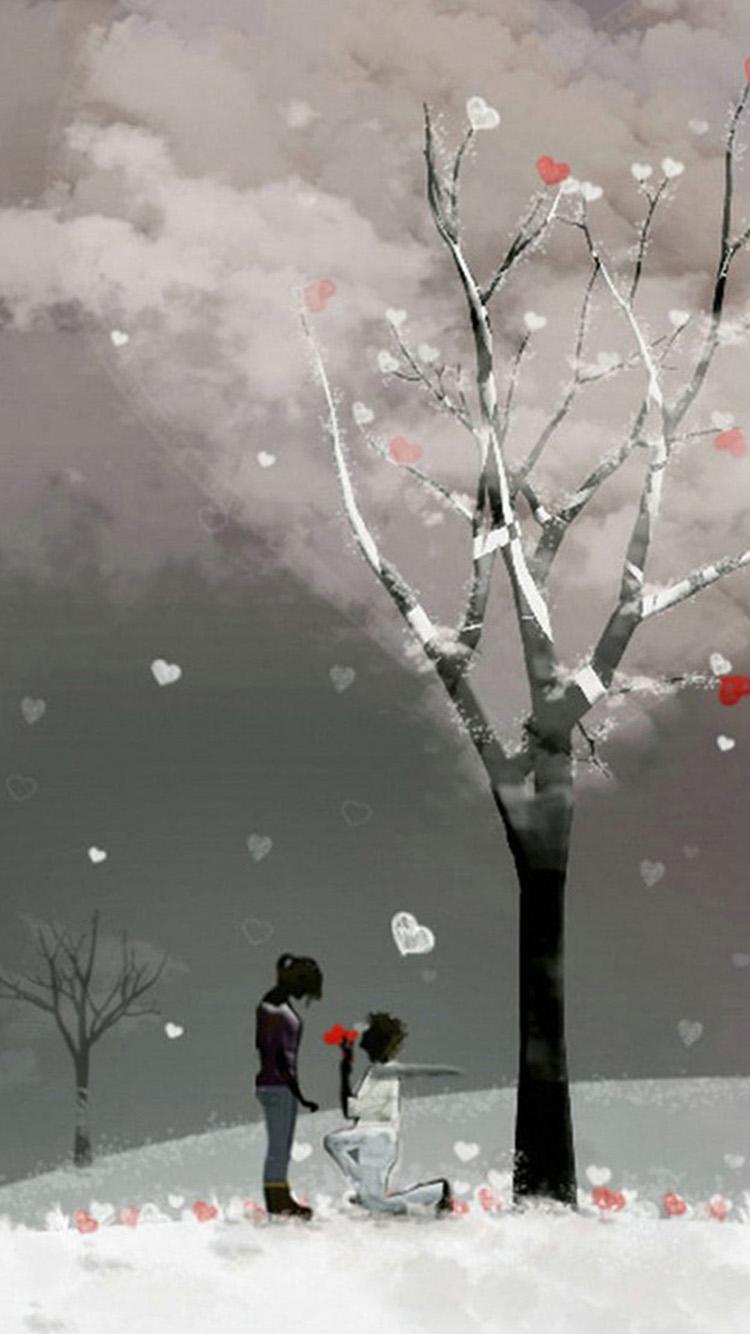 爱情 男女 手绘 雪地