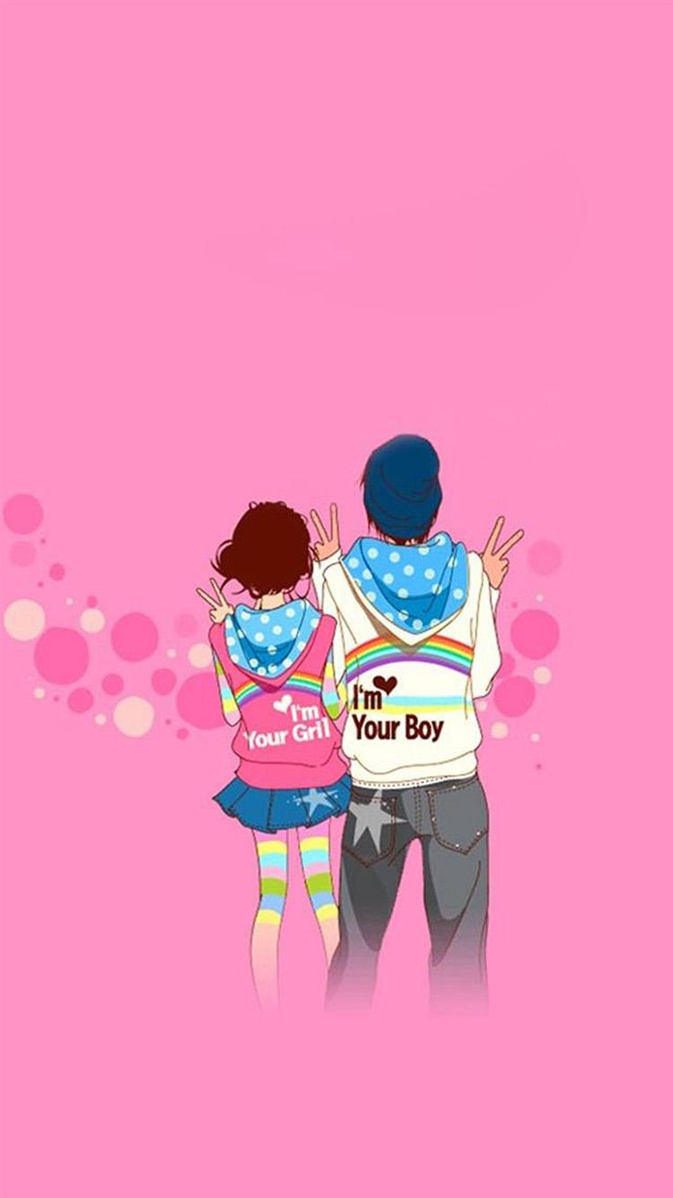 愛情 情侶 粉色 蘋果手機高清壁紙 750x1334_愛思助手