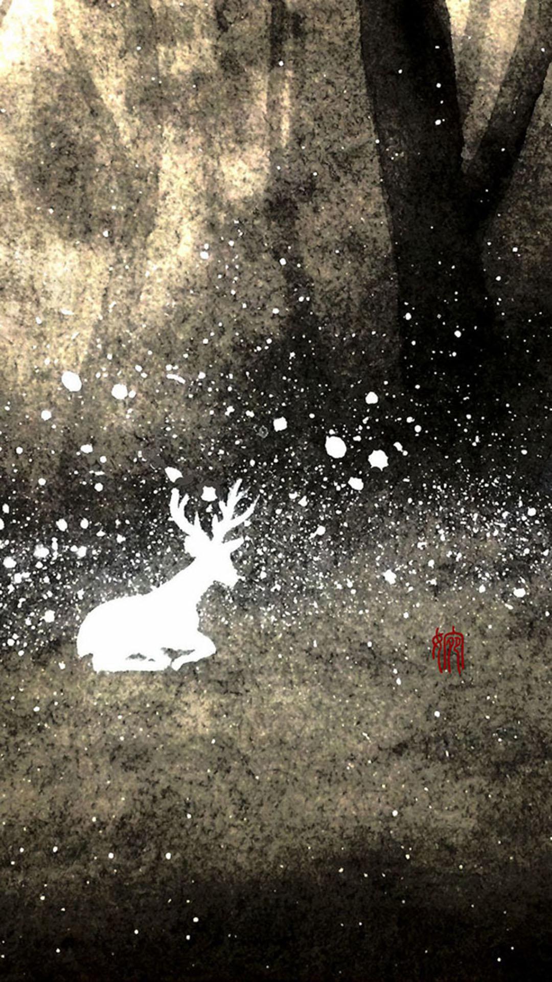 手绘 森林驯鹿 苹果手机高清壁纸 1080x1920_爱思助手