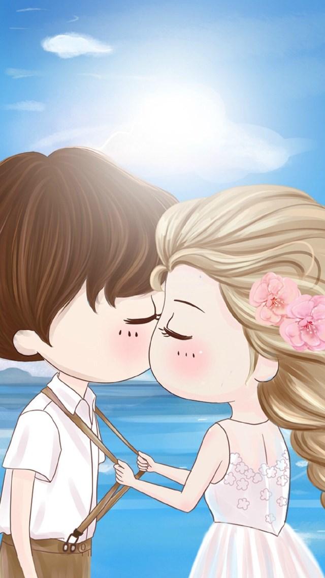 卡通 情侣 爱情 彩色 苹果手机高清壁纸 640x1136