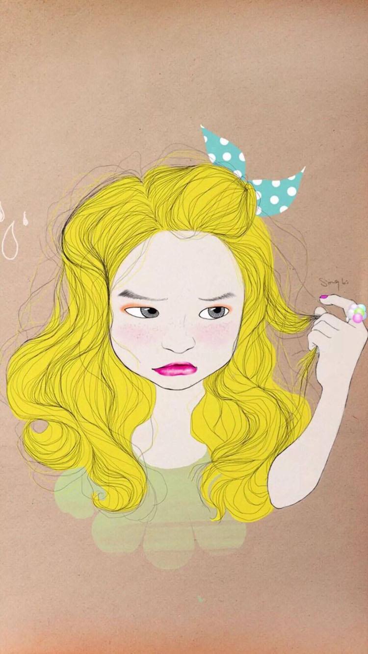 手绘 可爱金发小女孩 苹果手机高清壁纸 750x1334