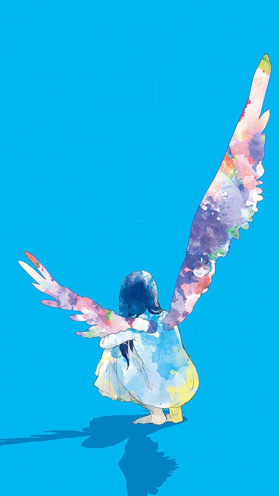 蓝色背景 手绘长翅膀的女孩 背影