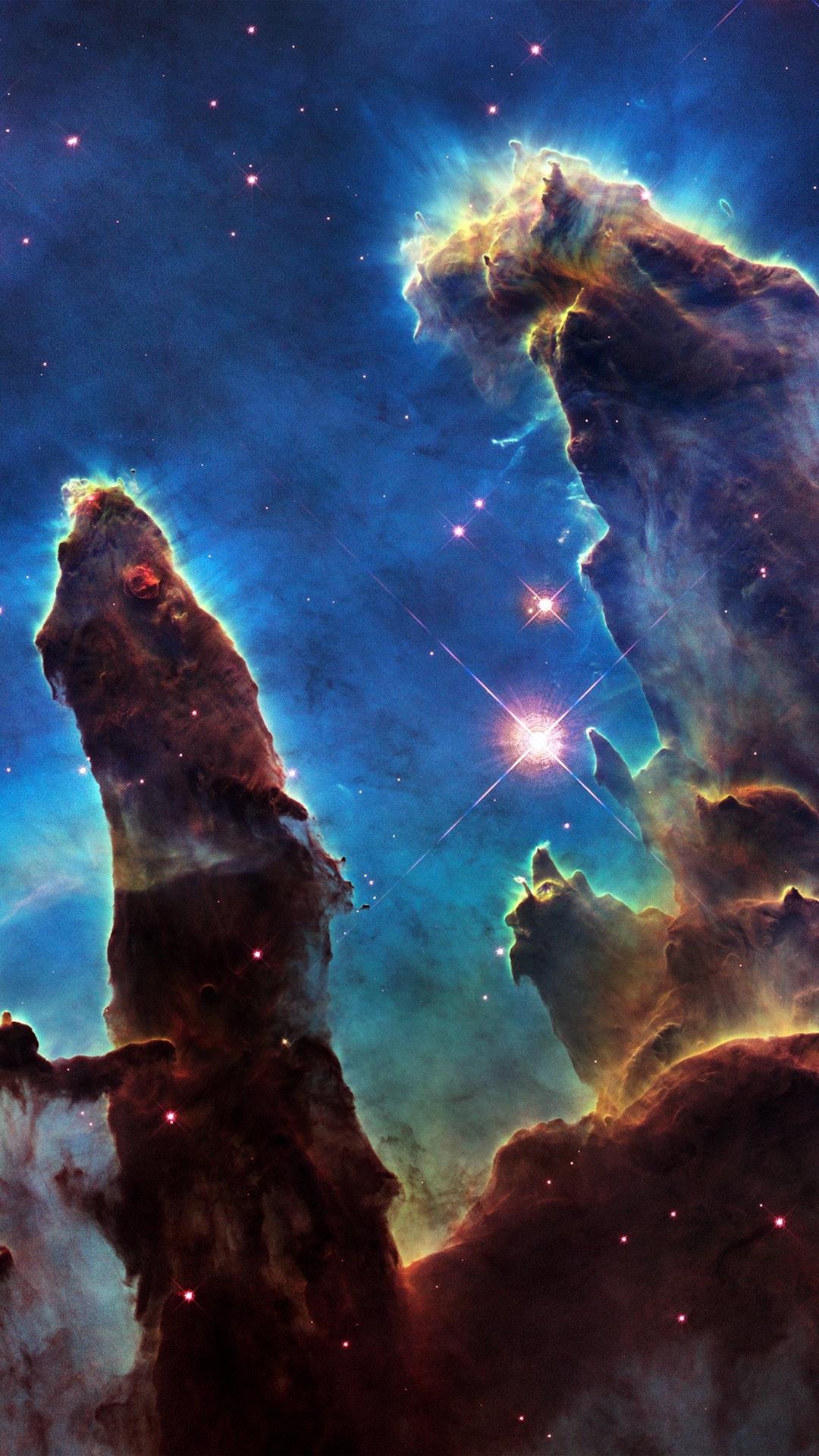 手绘 创意 夜空 山岭 星空 山峰