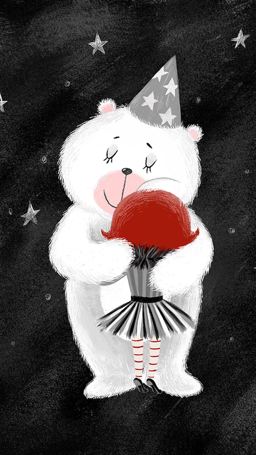手绘 插画 北极熊 拥抱 星星 帽子 小女孩 黑白红