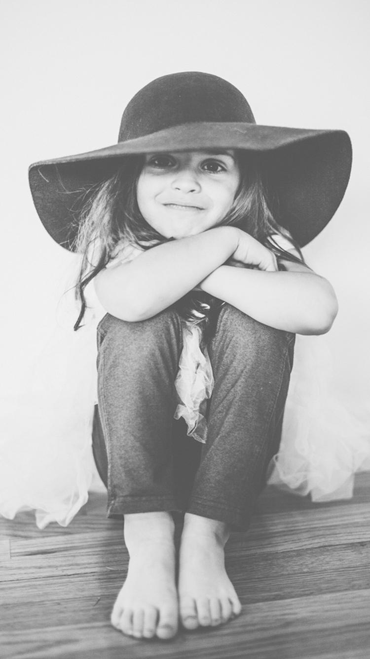 黑白 欧美 长发 女孩 可爱 帽子 小孩