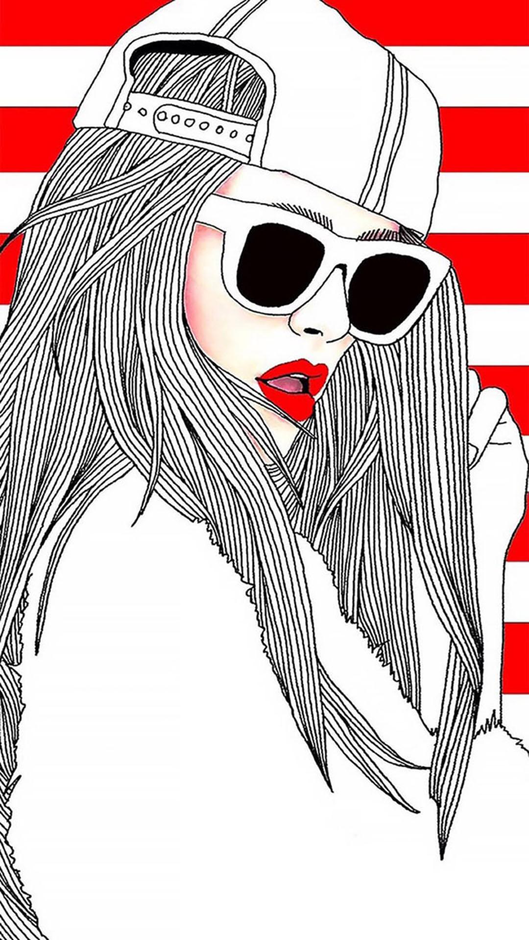 创意 手绘高清欧美女孩 大红唇