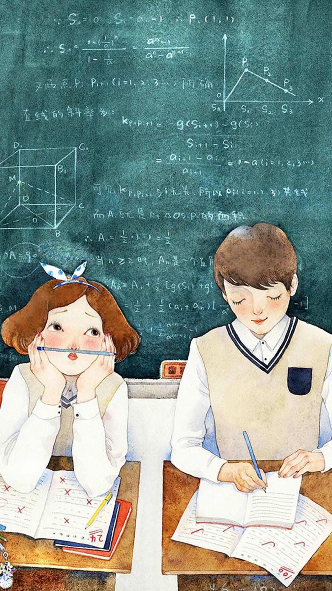 手绘 校园情侣 苹果手机高清壁纸 1080x1920_爱思助手