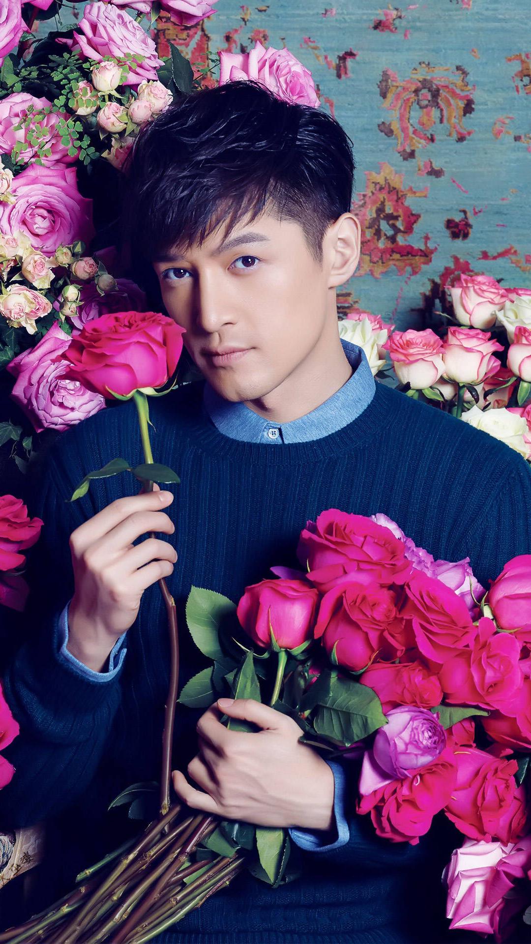胡歌 演员 鲜花 玫瑰 写真