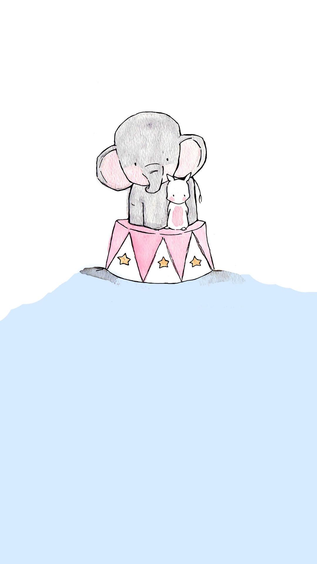 插画 手绘 大象 马戏团 兔子 可爱 蓝色