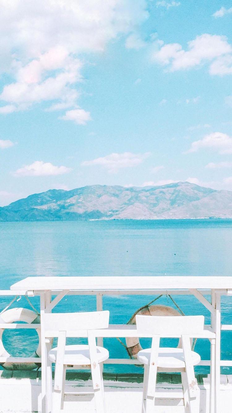 风景 小清新 唯美 桌椅大海