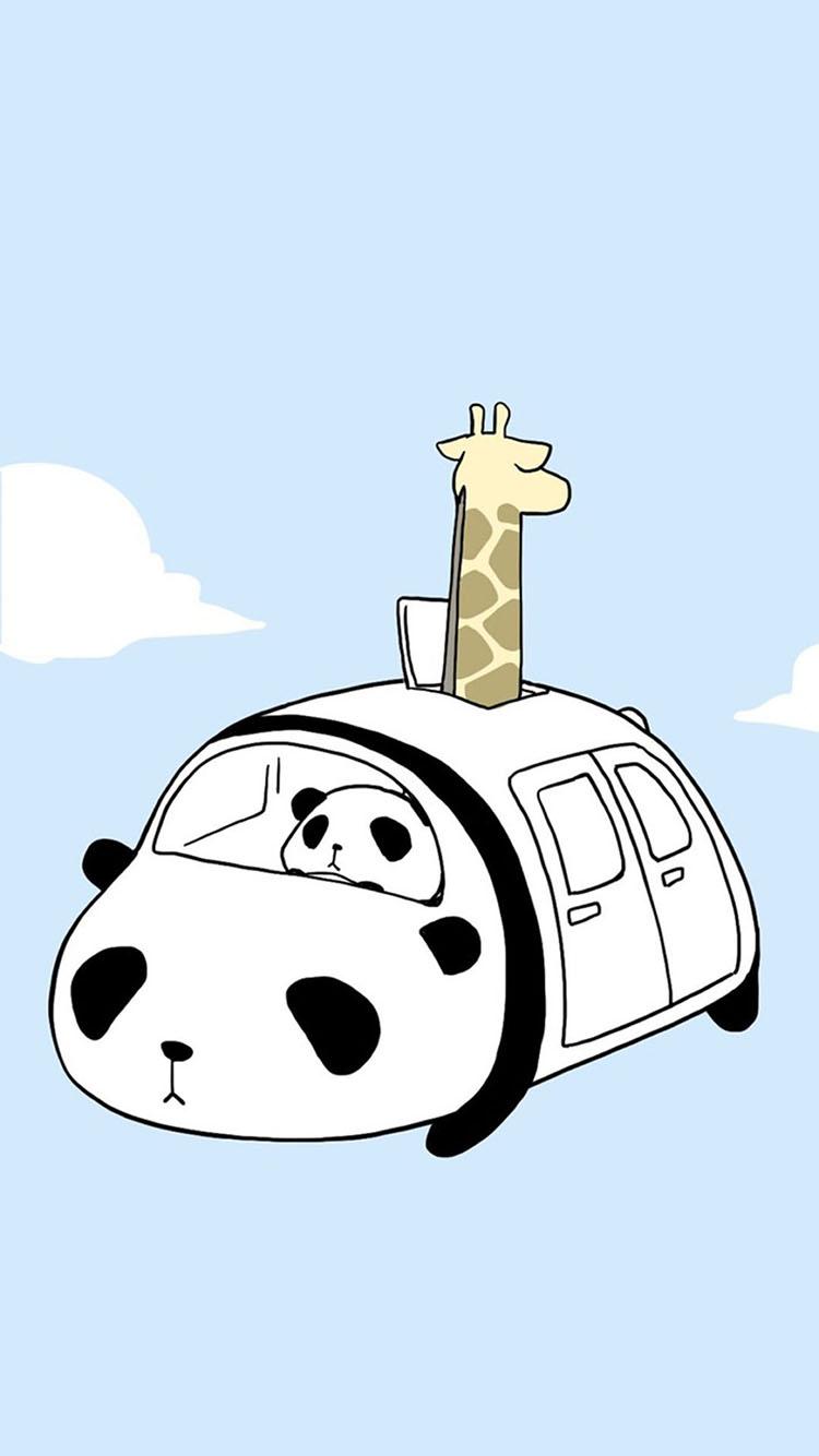 天蓝色背景 简笔画熊猫 长颈鹿