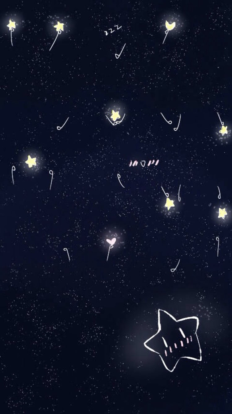 星空壁纸 简笔画小星星 爱心
